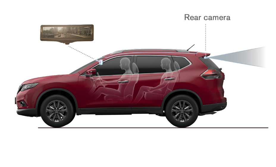 "Nissan debuts ""Smart Rearview Mirror"" on Rogue at New York Auto show; Helps provide clear rearward visibility in various conditions."